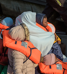 © Licensed to London News Pictures. 06/09/2021. Dover, UK. Migrants arrive at Dover Harbour in Kent after crossing the English Channel. Fine weather is expected to see migrants attempt to cross the English Channel to the UK this week.  Photo credit: Stuart Brock/LNP