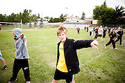 The Oregon Marching Band practices at the Calgary Christian School in Alberta, Canada on July 10, 2011.