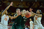March 18, 2016; Tempe, Ariz;  Green Bay Phoenix forward Mariah Monke (44) battles for a rebound during a game between No. 7 Tennessee Lady Volunteers and No. 10 Green Bay Phoenix in the first round of the 2016 NCAA Division I Women's Basketball Championship in Tempe, Ariz.