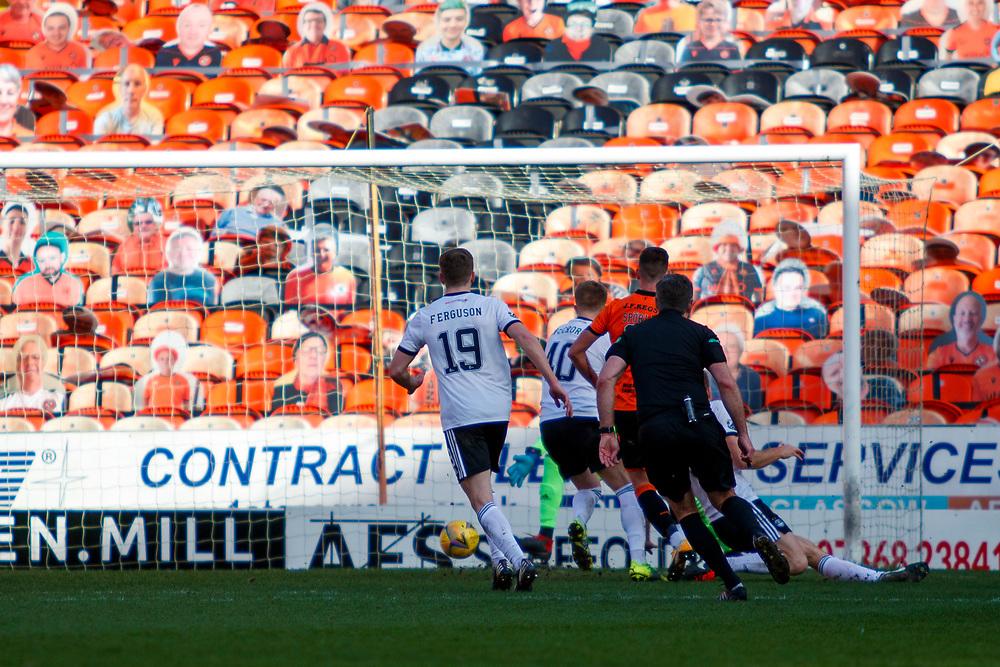 DUNDEE, SCOTLAND, MARCH 20, 2020:  Dundee Utd V Aberdeen FC Ladbrokes SPFL Premiership fixture at Tannadice Park, Dundee.<br /> <br /> Pictured: Adrian Sporle (Dundee Utd Defender) Scores<br /> <br /> (Photo: Newsline Media)