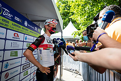 Tadej POGACAR of UAE TEAM EMIRATES talking to journalists during the 4th Stage of 27th Tour of Slovenia 2021 cycling race between Ajdovscina and Nova Gorica (164,1 km), on June 12, 2021 in Slovenia. Photo by Matic Klansek Velej / Sportida