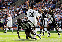 Photo: Paul Thomas. <br /> Bolton Wanderers v Newcastle United. Barclays Premiership. 11/08/2007. <br /> <br /> Obafemi Martins (L) scores for Newcastle, but looks surprised as the goal stands for offside.