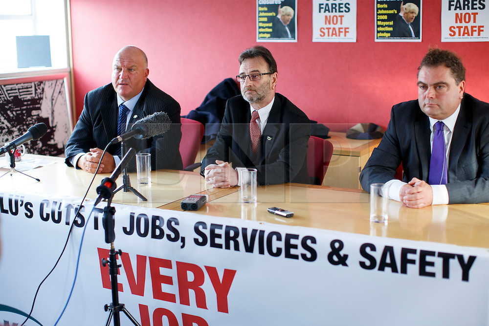 © licensed to London News Pictures. London, UK 03/02/2014. (left to right) Bob Crow, General Secretary of the National Union of Rail, Peter Pinkney, RMT President and Manuel Cortes, General Secretary of the TSSA answering media's questions at TUC HQ in central London ahead of two planned 48-hour London Tube strikes. Photo credit: Tolga Akmen/LNP