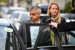 © Licensed to London News Pictures. 08/05/2016. London, UK. Mayor of London SADIQ KHAN leaves BBC Broadcasting House in London after appearing on the Andrew Marr Show. Khan was sworn in as the new Mayor yesterday in a ceremony at Southwark Cathedral. Photo credit: Ben Cawthra/LNP