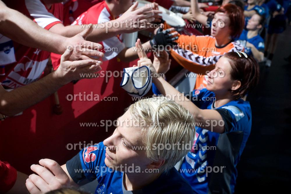 Dijana Golubic, Tanja Oder, Sergeja Stefanisin after EHF Champions league handball match in Group II between RK Krim Mercator and Gyori Audi Eto KC, on February 7, 2009, in Kodeljevo, Ljubljana, Slovenia. Gyori won 35:31. (Photo by Vid Ponikvar / Sportida)