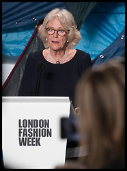 February 19, 2019 - London, London, United Kingdom - Image licensed to i-Images Picture Agency. 19/02/2019. London, United Kingdom. The Duchess of Cornwall speaking after the Bethany Williams show at London Fashion Week where she presented the Queen Elizabeth II Award for Design on behalf of The Queen  (Credit Image: © Stephen Lock/i-Images via ZUMA Press)