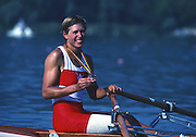 Banyoles, SPAIN, BRONZE Medalist,  CAN W1X SILKEN LAUMANN,  awards returns to her boat after the awards at the 1992 Olympic Regatta, Lake Banyoles, Barcelona, SPAIN.   [Mandatory Credit: Peter Spurrier: Intersport Images]
