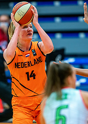 Emese Hof of the Dutch basketball team in action against Hungary during a European Championship qualifier.