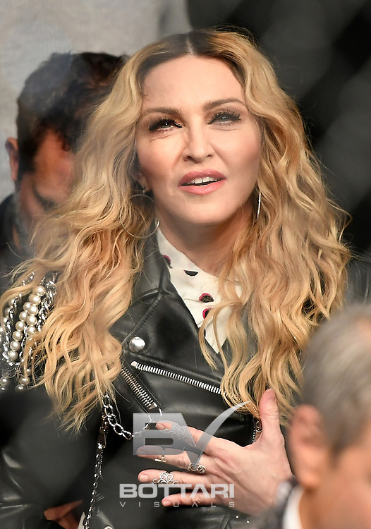 NEW YORK, NY - NOVEMBER 12: Music recording artist Madonna watches the middleweight bout between Chris Weidman of the United States and Yoel Romero of Cuba during the UFC 205 event at Madison Square Garden on November 12, 2016 in New York City.  (Photo by Jeff Bottari/Zuffa LLC/Zuffa LLC via Getty Images)