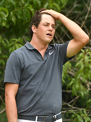 July 15, 2018 - Silvis, Illinois, U.S. - SILVIS, IL - JULY 15:  Chris Stroud reacts after hitting his tee shot on the #2 hole during the final round of the John Deere Classic on July 15, 2018, at TPC Deere Run, Silvis, IL.  (Photo by Keith Gillett/Icon Sportswire) (Credit Image: © Keith Gillett/Icon SMI via ZUMA Press)