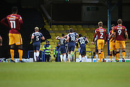 Southend United players celebrating scoring 1-0 during the EFL Sky Bet League 1 match between Southend United and Bradford City at Roots Hall, Southend, England on 19 November 2016. Photo by Matthew Redman.