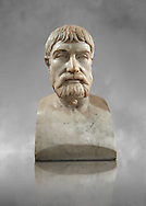 Roman marble sculpture bust of Pindar, 1 130-140 AD from an original mid 5th century BC Hellanistic Greek original, inv 6144, Naples Museum of Archaeology, Italy ..<br /> <br /> If you prefer to buy from our ALAMY STOCK LIBRARY page at https://www.alamy.com/portfolio/paul-williams-funkystock/greco-roman-sculptures.html . Type -    Naples    - into LOWER SEARCH WITHIN GALLERY box - Refine search by adding a subject, place, background colour, etc.<br /> <br /> Visit our ROMAN WORLD PHOTO COLLECTIONS for more photos to download or buy as wall art prints https://funkystock.photoshelter.com/gallery-collection/The-Romans-Art-Artefacts-Antiquities-Historic-Sites-Pictures-Images/C0000r2uLJJo9_s0
