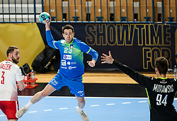 Miha Zarabec of Slovenia during handball match between National Teams of Slovenia and Poland in Qualification Phase 2 of Men's EHF Euro 2022 Qualifiers, on March 9, 2021 in Arena Zlatorog, Celje, Slovenia. Photo by Vid Ponikvar / Sportida