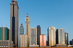 skyline of skyscrapers in Dubai United Arab Emirates UAE