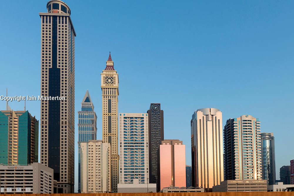 skyline of skyscrapers in Dubai United Arab Emirates UAE