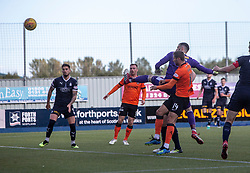 Dundee United's Pavol Safranko scoring their first goal. Falkirk 0 v 2 Dundee United, Scottish Championship game played 22/9/2018 at The Falkirk Stadium.