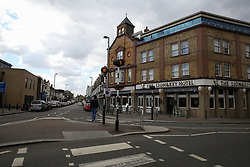 © Licensed to London News Pictures. 05/05/2019. London, UK. General view of Leyton High Road, East London where three men believed to be 23, 28 and 30, suffered gunshot wounds in the shooting just before 9 pm on Saturday 4 May 2019. According to the police a 30 year old man is in critical condition. Photo credit: Dinendra Haria/LNP