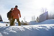 Silje Noredal and Kjersti Oestgaard Buaas during Women's Slopestyle Practice during 2015 X Games Aspen at Buttermilk Mountain in Aspen, CO. ©Brett Wilhelm/ESPN
