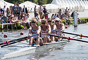 Henley-on-Thames. United Kingdom.  2017 Henley Royal Regatta, Henley Reach, River Thames. <br /> Women's Four. New York Athletic Club. Bow Olivia COFFEY, Kerry SIMMONDS Susan FRANCIA and Felice MUELLER<br /> 15:21:46  Sunday  02/07/2017<br /> <br /> [Mandatory Credit. Intersport Images}.