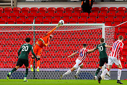 Andy Lonergan, making his debut for Stoke City, makes a save - Mandatory by-line: Nick Browning/JMP - 23/12/2020 - FOOTBALL - Bet365 Stadium - Stoke-on-Trent, England - Stoke City v Tottenham Hotspur - Carabao Cup