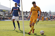 Andrew Hughes of Newport takes the ball into the corner towards the end of the game, frustrating Rhys Bennett of Rochdale. Skybet football league two match, Newport county v Rochdale at Rodney Parade in Newport, South Wales on Saturday 3rd May 2014.<br /> pic by Mark Hawkins, Andrew Orchard sports photography.