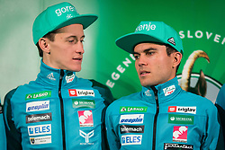 Jernej Damjan and Peter Prevc during press conference of Slovenian Men and Woman national Ski Jumping team, on November 28, 2017 in Pivovarna Union, Ljubljana, Slovenia. Photo by Ziga Zupan / Sportida