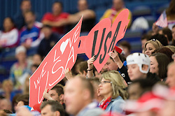 Fans of USA during Ice Hockey match between Slovenia and USA at Day 10 in Group B of 2015 IIHF World Championship, on May 10, 2015 in CEZ Arena, Ostrava, Czech Republic. Photo by Vid Ponikvar / Sportida