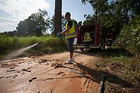 29.07.2014 wies Kituryki woj podlaskie N/z strazacy z OSP w Michalowie ukladaja mate odkazajaca w obszarze zagrozonym Afrykanskim Pomorem Swin fot Michal Kosc / AGENCJA WSCHOD