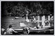 "Henley. Berks, United Kingdom, 17th June, 2017 Henley' Women's Regatta. Umpire, Jacomina RAVENSBERGEN, [NED] officiating at the  2017 Henley' Women's Regatta. Rowing on, Henley Reach. River Thames. <br /> <br /> ""Film Noir Style Photography"", © Peter SPURRIER"