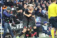 Bayer Leverkusen midfielder Kevin Kampl (44) celebrates scoring 0-1 during the Champions League match between Tottenham Hotspur and Bayer Leverkusen at Wembley Stadium, London, England on 2 November 2016. Photo by Matthew Redman.