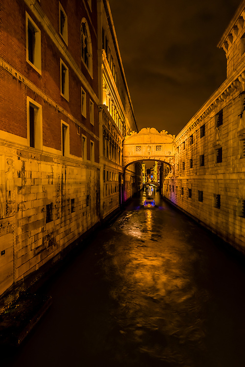 The canal behind the Doge's Palace seen from the Bridge of Sighs, Venice, Italy.