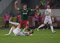 MOSCOW, RUSSIA - OCTOBER 27: Murilo Cerqueira of Lokomotiv Moskva and Robert Lewandowski of FC Bayern Muenchen during the UEFA Champions League Group A stage match between Lokomotiv Moskva and FC Bayern Muenchen at RZD Arena on October 27, 2020 in Moscow, Russia. (Photo by MB Media)