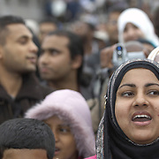 Youngmuslim  women and girls wearing hijab, Eid in the Square, London, England<br />