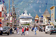 Alaska. Skagway.Cruise ship docks at the bottom of the street in the  Klondike Gold Rush National Historical Park with  Boardwalks and frontier town facades.