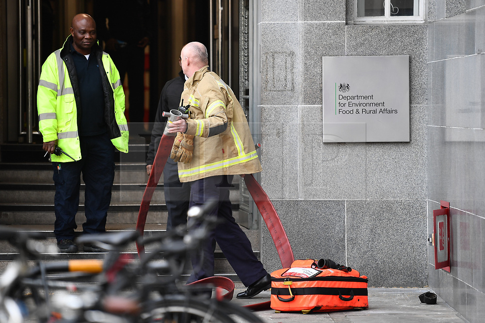 © Licensed to London News Pictures. 07/03/2019. London, UK. Emergency services at DEFRA (Department for Environment, Food and Rural Affairs) in Westminster, which had been evacuated. Photo credit: Ben Cawthra/LNP