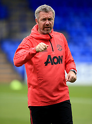 Manchester United Women's Assistant Manager Willie Kirk during the pre-match warm up prior to the Continental Tyres Cup, Group Two North match at Prenton Park, Birkenhead.