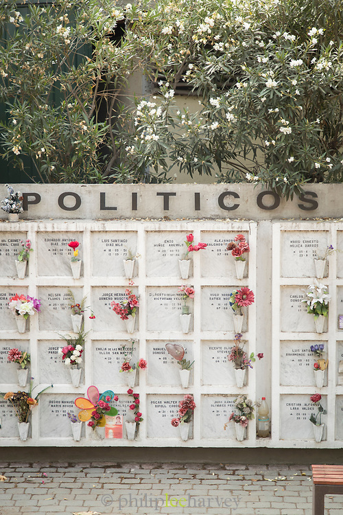 Graves on cemetery with flowers and text, Santiago, Chile