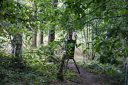 Recent paint markings on trees and a perimeter intruder detection system close to a badger sett in Crackley Woods are pictured on 24th August 2020 in Kenilworth, United Kingdom. Anti-HS2 activists continue to protest against and attempt to prevent or delay works in connection with the controversial HS2 high-speed rail link from camps such as the Crackley Woods Protection Camp along the Phase One route from Euston to north of Birmingham.