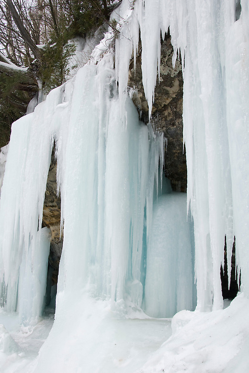 Ice formations at Pictured Rocks National Lakeshore in Munising Michigan Upper Peninsula.