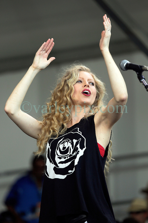 02 May 2015. New Orleans, Louisiana.<br /> The New Orleans Jazz and Heritage Festival. <br /> Annie Marie Dolan, daughter of Linda Gail Lewis, (sister to music legend Jerry Lee Lewis) warms up the crowd on the Acura stage.<br /> Photo; Charlie Varley/varleypix.com