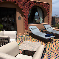 Africa, Morocco, Asni. Suite Terrace at Richard Branson's Kasbah Tamadot luxury retreat in the Atlas Mountains.