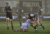 Rugby Union - 2020 / 2021 ERRC Challenge Cup - Newcastle Falcons vs Cardiff Blues - Kingston Park<br /> <br /> Adam Brocklebank of Newcastle Falcons is tackled by Brad Thyer of Cardiff Blues<br /> <br /> COLORSPORT/BRUCE WHITE
