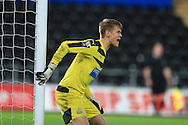 Nathan Harker, the Newcastle Utd goalkeeper looks on. Barclays Premier league match, Swansea city U21's  v Newcastle Utd U21's at the Liberty Stadium in Swansea, South Wales on Monday 4th April 2016.<br /> pic by Andrew Orchard, Andrew Orchard sports photography.