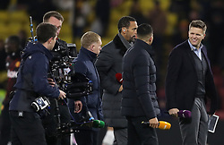 "BT Sport presenter Jake Humphrey (right) alongside pundits Rio Ferdinand (centre left), Jermaine Jenas and Paul Scholes (left) before the Premier League match at Vicarage Road, Watford. PRESS ASSOCIATION Photo. Picture date: Tuesday November 28, 2017. See PA story SOCCER Watford. Photo credit should read: Andrew Matthews/PA Wire. RESTRICTIONS: EDITORIAL USE ONLY No use with unauthorised audio, video, data, fixture lists, club/league logos or ""live"" services. Online in-match use limited to 75 images, no video emulation. No use in betting, games or single club/league/player publications."