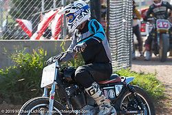 Hooligan flattracker Chad Tyson on his Harley-Davidson racer in the Spirit of Sturgis races at the fairgrounds during the Sturgis Black Hills Motorcycle Rally. Sturgis, SD, USA. Monday, August 5, 2019. Photography ©2019 Michael Lichter.