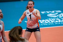 Kim Klein Lankhorst of Netherlands in action during United States - Netherlands, FIVB U20 Women's World Championship on July 15, 2021 in Rotterdam