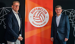 Alderman Michel Kotteman (Borne) and Martin Reesink club president Apollo 8  during the talk show of the Dutch volleyball association. The association wants to start a professionalization process with which they want to strengthen recreational sport in the coming years on March 8, 2021 in Utrecht