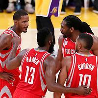 26 October 2016: Houston Rockets guard James Harden (13) talks to Houston Rockets guard Eric Gordon (10) Houston Rockets center Nene Hilario (42) Houston Rockets forward Trevor Ariza (1) during the Los Angeles Lakers 120-114 victory over the Houston Rockets, at the Staples Center, Los Angeles, California, USA.