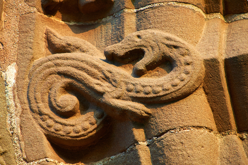Norman Romanesque relief sculptures of mythical dragon from the south doorway of the Church of St Mary and St David, Kilpeck Herifordshire, England. Built around 1140 .<br /> <br /> Visit our MEDIEVAL PHOTO COLLECTIONS for more   photos  to download or buy as prints https://funkystock.photoshelter.com/gallery-collection/Medieval-Middle-Ages-Historic-Places-Arcaeological-Sites-Pictures-Images-of/C0000B5ZA54_WD0s