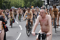 © Licensed to London News Pictures. 14/08/2021. London, UK. Cyclists make their way round Marble Arch as they take part in the World Naked Bike Ride in central London. Activists are protesting against the global dependency on oil and are calling for an end to the car culture. Photo credit: Peter Macdiarmid/LNP